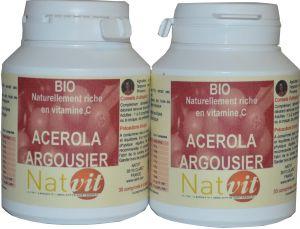 acerola argousier vitamines c comprim s naturels bio lot de 2 boites. Black Bedroom Furniture Sets. Home Design Ideas